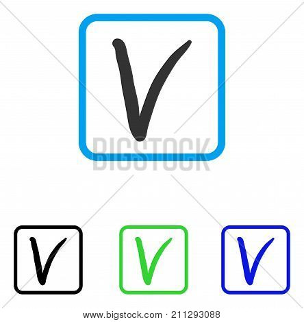 Tick Mark icon. Flat grey pictogram symbol in a blue rounded rectangular frame. Black, green, blue color variants of Tick Mark vector. Designed for web and software user interface.