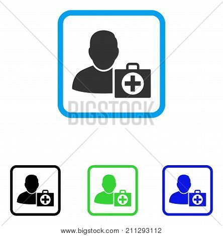 User First Aid icon. Flat grey pictogram symbol in a blue rounded square. Black, green, blue color versions of User First Aid vector. Designed for web and application user interface.