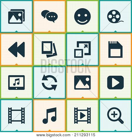 Music Icons Set. Collection Of Filmstrip, Play, Synchronize And Other Elements