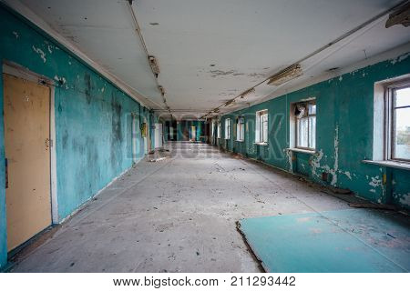 Empty room. Abandoned building interior. Abandoned factory