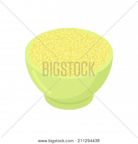 Bowl Of Couscous Gruel Isolated. Healthy Food For Breakfast. Vector Illustration