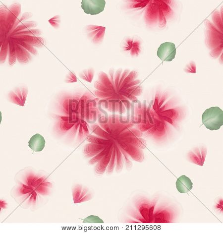 A seamless pattern with gouache one stroke painting on the canvas. Hand drawn gouache folk flowers and leaves. Vintage old style floral pattern