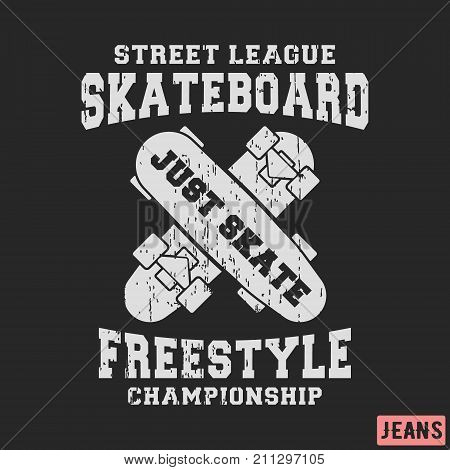 T-shirt print design. Skateboard freestyle stamp for denim t shirt. Printing and badge applique label t-shirts jeans casual and urban wear. Vector illustration.