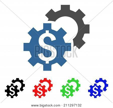 Financial Settings icon. Vector illustration style is a flat iconic financial settings symbol with black, red, green, blue color variants. Designed for web and software interfaces.