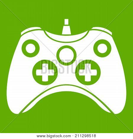 Video game controller icon white isolated on green background. Vector illustration