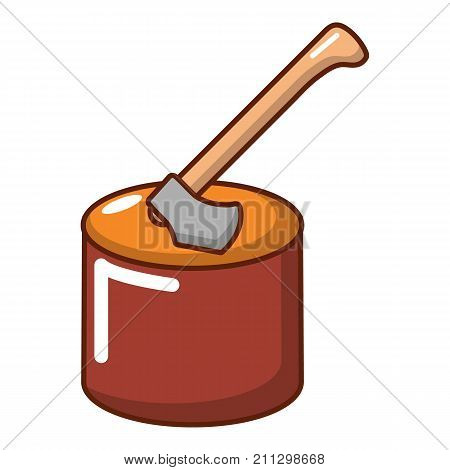 Axe in wood icon. Cartoon illustration of axe in wood vector icon for web