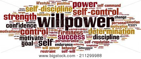 Willpower word cloud concept. Vector illustration on white