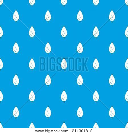 Hornbeam leaf pattern repeat seamless in blue color for any design. Vector geometric illustration