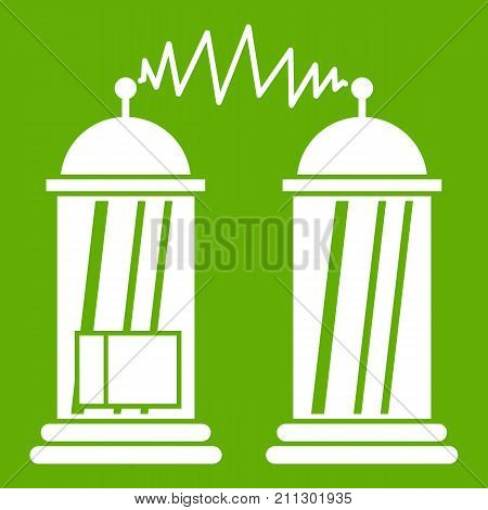 Electrical impulses icon white isolated on green background. Vector illustration