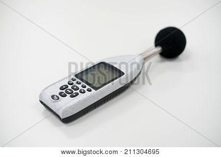 Measuring sound level meter on laboratory teble.