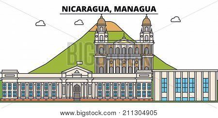 Nicaragua, Managua outline city skyline, linear illustration, line banner, travel landmark, buildings silhouette, vector