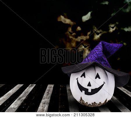 Halloween pumpkin background trick or treat in dark night