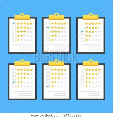 Clipboards with rating stars and check marks. Survey, quality control, feedback, customer review, rating concept. Clip boards with applications, green ticks and stars. Flat design. Vector illustration