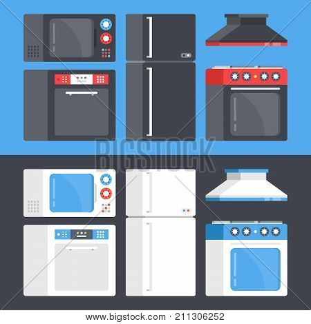 Kitchen appliances set. Microwave oven, dishwasher, refrigerator, electric range, cooker hood. Flat design. Black and white style concepts. Modern graphic elements and objects. Vector illustration