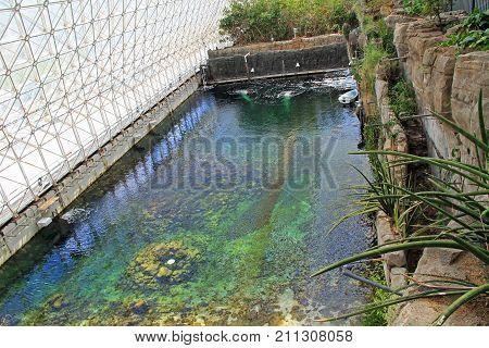 TUCSON, ARIZONA, USA --April 21, 2014:  Pool inside The University of Arizona's Biosphere 2 Research Center in Tucson, Arizona, USA.