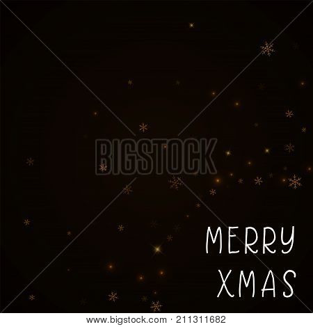 Merry Xmas Greeting Card. Sparse Starry Snow Background. Sparse Starry Snow On Brown Background. Ama