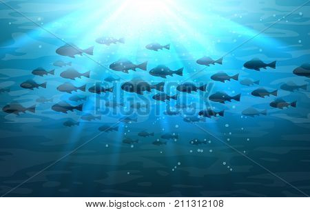 Shoal of sea fish. Swimming pisces in blue deep ocean water vector illustration