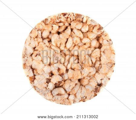 Top view of puffed crispbread isolated on white
