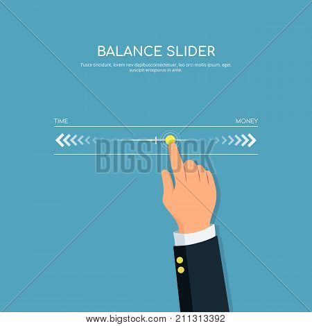 Modern digital touch screen slider. Close-up of person hand with slider balance. Concept design balance and control life. Vector illustration in flat style.