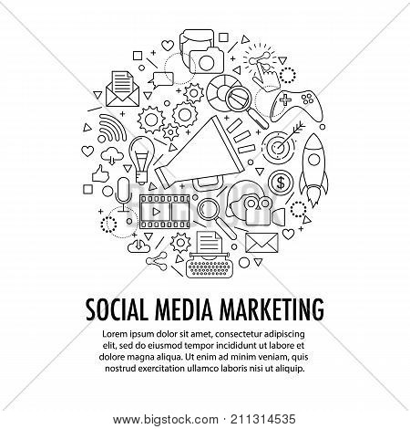 Social Media Marketing circle template. Circle with different SMM icons elements on white background. Advertising and promotion concept. Movie and foto, writing and other content.