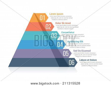 Pyramid infographic template with six elements, vector eps10 illustration