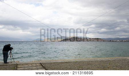 Cameraman Shooting Video On Lake Ohrid In Macedonia,