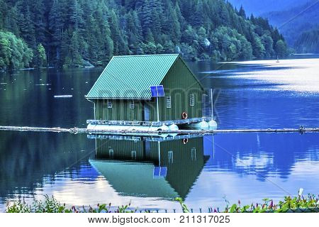 Green Building Capilano Reservoir Lake Reflection Vancouver British Columbia Canada Pacific Northwest