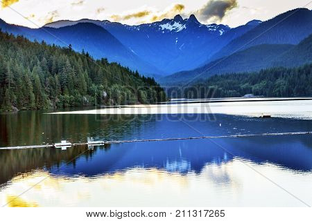 Capilano Reservoir Lake Dam Snowy Two Lions Snow Mountains Vancouver British Columbia Canada Pacific Northwest