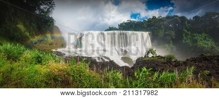 Sae Pong Lai waterfall the unseen waterfall in Laos. rainbow. panorama waterfall. waterfall nature. waterfall laos. waterfall landscape. waterfall travel. waterfall adventure. waterfall beautiful. waterfall blue sky. big waterfall. waterfall forest. water