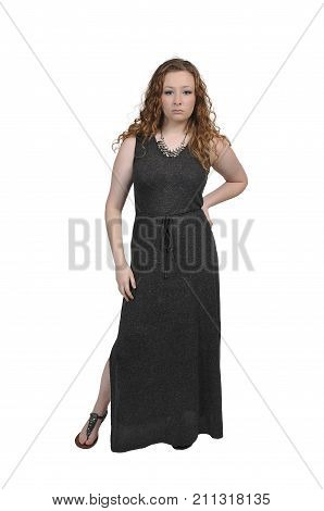 Beautiful young attractive woman modeling her evening gown