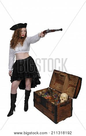 Young beautiful pirate woman with a flintlock pistol