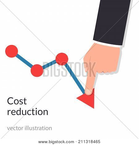 Cost reduction concept. Cost down. Businessman with his hand lowers the arrow of the graph. Decrease down profit. Declining chart. Vector illustration flat design. Isolated on background