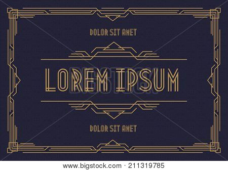Greeting card template art deco style horizontal orientation with gold frame on cyan background for wedding invitation card, party, menu restaurant, sale, cafe. Arabic frame. Vector Illustration
