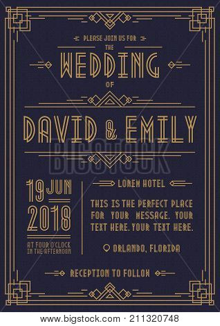 Wedding invitation card art deco style gold color on cyan background with frame. Greeting card. Vector Illustration