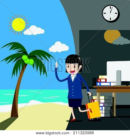 vector. holiday or vacation for business people concept. businesswoman or company employee in a suit is towing a luggage from an office to go on vacation at the beach during her holiday or vacation.