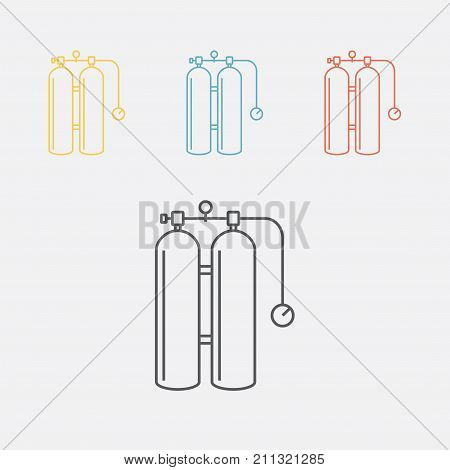 Gas cylinders for welding line icon Vector icon for web graphic