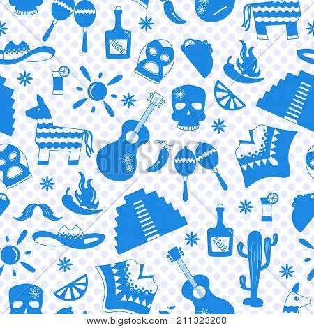 Seamless pattern on the theme of recreation in the country of Mexico a blue silhouettes of icons on the background of polka dots