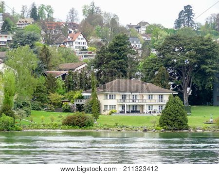 riparian scenery including some houses around Lake Zurich in Switzerland