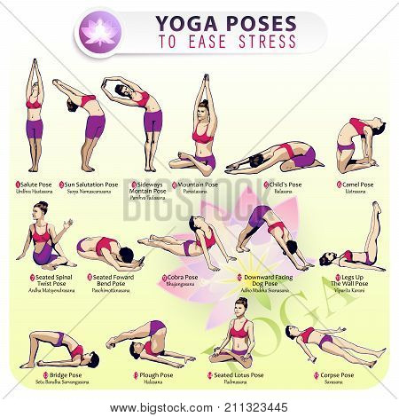Iillustration of the sequence of performing 15 poses of yoga for stress relief. Female figures depicting various asanas from the complex of yoga exercises.