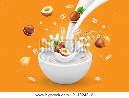 Instant oatmeal with hazelnut advertising. Milk flowing into a bowl with grain and nuts ad. Vector.