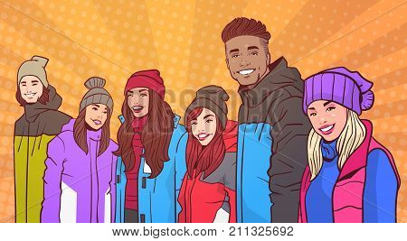 Portrait Of Smiling Group Of People Wear Winter Clothes Over Colorful Retro Style Background Mix Race Young Adults Vector Illustration