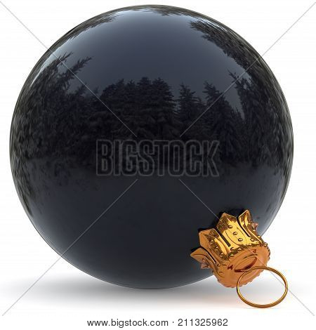Christmas ball black dark decoration closeup New Year's Eve hanging bauble adornment polished Merry Xmas wintertime ornament. 3d rendering illustration poster