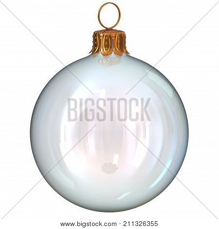 Christmas ball glass white clean translucent closeup New Year's Eve decoration bauble hanging adornment traditional Merry Xmas sparkling ornament. 3d rendering illustration poster