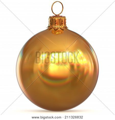 Golden Christmas ball decoration New Year's Eve hanging bauble adornment traditional Happy Merry Xmas ornament sparkling yellow. 3d rendering illustration