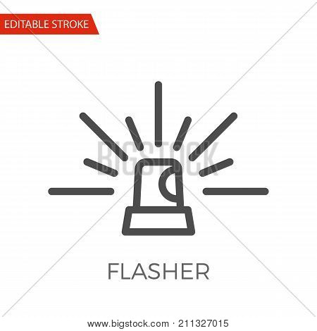 Flasher Thin Line Vector Icon. Flat Icon Isolated on the White Background. Editable Stroke EPS file. Vector illustration.