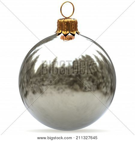 Christmas ball white silver decoration bauble closeup New Year's Eve hanging adornment traditional Merry Xmas wintertime ornament metallic. 3d rendering illustration