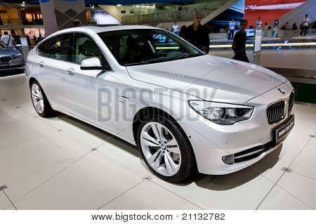 Moscow, Russia - August 25:  Grey Car Bmw 530 At Moscow International Exhibition Interauto On August