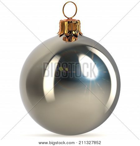 Christmas ball silver white metallic decoration closeup New Year's Eve bauble hanging adornment traditional Merry Xmas wintertime ornament sparkling. 3d rendering illustration