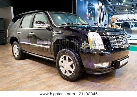 Moscow, Russia - August 25:  Black Jeep Car Cadillac Escalade At Moscow International Exhibition Int