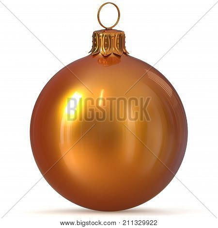 Christmas ball golden yellow decoration closeup New Year's Eve bauble hanging adornment Merry Xmas ornament shiny sparkling. 3d rendering illustration